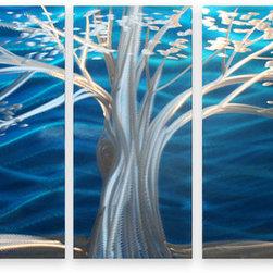 Matthew's Art Gallery - Metal Wall Art Modern Sculpture White Tree on Blue - Name: White Tree on Blue