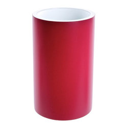 Gedy - Round Toothbrush Holder in Resin, Ruby Red - A sensible piece for a designer or contemporary master bath, this free stand toothbrush holder is the perfect option.