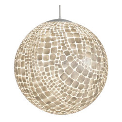 Worlds Away - Worlds Away Croc Capiz Shell Ball Pendant - Inlaid capiz ball pendant in croc pattern with single 60 watt socket. Comes with 3' white cord and canopy. Additional chain may be purchased upon request.