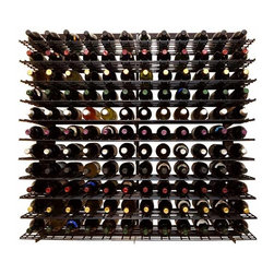 Wine Cellar Innovations - 4 Foot WineZone Wine Shelf Kit Option 2 - The WineZone Wine Shelf is a contemporary metal wine rack with a beautiful black finish in three and four foot heights. Versatile wine displays can be side to side or front to back. A wood wine shelf add on allows you to display liquors, glasses, cases, decanters, accessories, and more. Design and redesign based on your changing needs. Components sold separately. Easy assembly videos available.