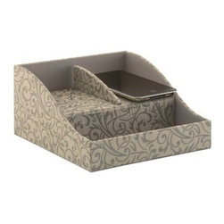 kathy ireland Office by Bush Furniture Brocade Swirl Charging Station - Charcoal - Please note this product does not ship to Pennsylvania.