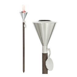 Blomus - ORCHOS Debonair Garden Torch - A classic garden necessity made with functionality and style in mind this torch is made with durable stainless steel and a sleek wood post. Stainless steel and wood construction. Designed for outdoor use. Sleek modern design.