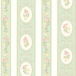 Brewster Home Fashions - Palmer Mint Stripe Wallpaper. - An alluring mint backdrop gives way to white pearlescent cameos to create a beautifully designed wall covering. Pastel pink, green and yellow florals scroll elegantly across adding a feminine and chic touch to your home.