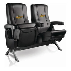 Dreamseat Inc. - Ford Outdoor Life Row One VIP Theater Seat - Double - Check out these fantastic home theater chairs. These are the same seats that are in the owner's VIP luxury boxes at the big stadiums. It has a rocker back and padded seat, so it's unbelievably comfortable - once you're in it, you won't want to get up. Features a zip-in-zip-out logo panel embroidered with 70,000 stitches. Converts from a solid color to custom-logo furniture in seconds - perfect for a shared or multi-purpose room. Root for several teams? Simply swap the panels out when the seasons change. This is a true statement piece that is perfect for your Man Cave, Game Room, basement or garage.