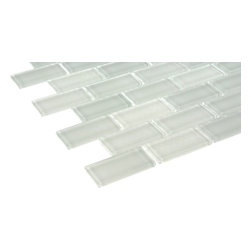 "Ice White Polished Glass Tile - sample-ICE WHITE POLISHED 3/4 x 1 3/4, 1/4 SHEET GLASS TILES SAMPLE You are purchasing a 1/4 sheet sample measuring approximately 3 "" x 12 "". Samples are intended for color comparison purposes, not installation purposes. -Glass Tiles -"