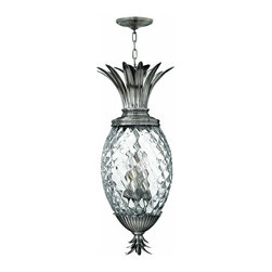 Hinkley - Hinkley Plantation Four Light Polished Antique Nickel Foyer Hall Pendant - 2222P - This Four Light Foyer Hall Pendant is part of the Plantation Collection and has a Polished Antique Nickel Finish.
