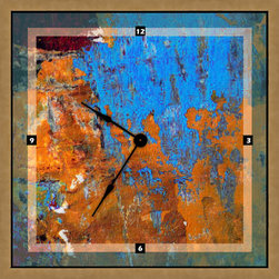None - 16x16-inch Blue and Yellow Art Clock - Unique and stylish, this square art wall click features a high-quality print and premiere quarts movement, finished in a decorative frame for a complete look. Lend an artistic and functional accent to your home or office decor with this trendy clock.