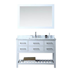"""Ari Kitchen and Bath - Manhattan 48"""" White Transitional Style Bathroom Vanity and Mirror - Beautiful transitional style bathroom vanity by Ari Kitchen and Bath, a new brand manufacturing quality bathroom decor at affordable prices. The new 48"""" Manhattan comes with 1"""" edge Italian carrara marble top, backsplash, rectangle undermount CUPC basin, soft-closing drawers and doors, concealed drawer hinges, white frame mirror and pure white solid wood bathroom cabinet. Absolutely no MDF or Particle board on all of our bathroom vanities. All of our bathroom vanities come completely assembled by the manufacture, minimal assembly required."""