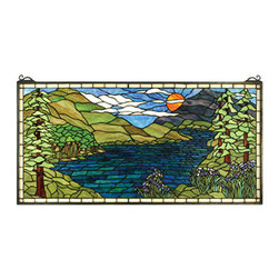 "Meyda Tiffany - 40""W X 20""H Sunset Meadow Stained Glass Window - Instantly transport yourself from your home to the heart of the Adirondacks when viewing this stained glass window from Meyda Tiffany. This tranquil lakeside summer scene with iris in bloom is a Nancy Parker original design handcrafted using LC Tiffany's time-honored copper foil construction technique."