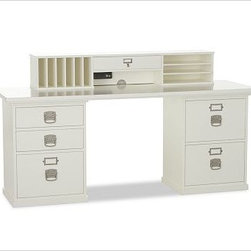 "Bedford Smart Technology(TM) Desk Hutch, Antique White - Every piece in our expertly built Bedford Collection can be used singly or combined with others to form a desk, console or wall of storage. Equipped with Smart Technology(TM), our desk hutch has a built-in electrical cord set with 2 receptacles, dual data jacks and a rocker switch. To create a desk set that's ideal for your space, {{link path='/shop/furniture-upholstery/tools-furn/bedford-desk-furniture/'}}click here{{/link}} to view our Bedford Desk Set Tool. 52"" wide x 9.5"" deep x 9.5"" high Smart(TM) feature provides access to a cable modem, network, Internet router, computer, fax or phone line. View our {{link path='pages/popups/fb-home-office.html' class='popup' width='480' height='300'}}Furniture Brochure{{/link}}."