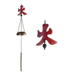 Oriental Furniture - 5 Elements Wind Chimes - Fire - This interesting variation of a common wind chime has a cast brass bell and features a carved wooden symbol as the yoke. The symbol, fire for power, is one of the five elements of Feng Shui.