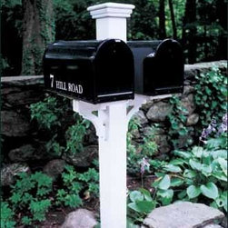 """Duet Mail Post - Twin boxes are secure on sturdy hand crafted brackets. 5 1/2"""" sq. post. Crafted in cellular vinyl."""