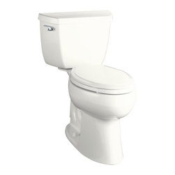 "KOHLER - KOHLER K-3713-0 Highline Comfort Height Two-Piece Elongated Toilet with 10"" Roug - KOHLER K-3713-0 Highline Comfort Height Two-Piece Elongated Toilet with 10"" Rough-In in White"