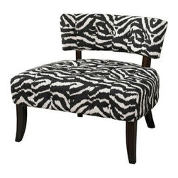 "PWL502-902 - Lady Slipper Zebra Print Accent Chair - Lady Slipper Zebra Print Accent Chair.  The ""Lady Slipper"" Zebra Print Chair adds bold drama and style to any space. The chair features a generous sized plush seat for comfort. A low lying swanky chair back has simple button tufting for appeal. Great for adding to a living room, bedroom or entryway, the chair is a practical and trendy home accent.  Material Content: Fabric - 100% polyester.  Chair measures:  32-5/8"" x 30"" x 29"" tall, Seat Height: 17-1/2""."
