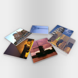 """Custom Photo Factory - Famous Landmarks Glass Coasters With Crystal Clarity. 6 Piece Set. - Made in the USA. Materials: Smooth tempered glass. Set includes:  (6) drink coasters. Dimensions:  3.94"""" x 3.94"""" x 3/16"""".  Image imprinted on the backside so the item on top of the coaster is never interacting with the print surface. The crystal clarity of our glass coasters delivers reliably uniform color reproductions. Crafters, artists and interior designers will find countless ways to use the features of these glass coasters. This will be the highest quality coasters you've even seen."""