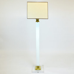 Mid Century Floor Lamp with Lucite and Brass Accents - Dimensions:L 13''  × W 13''  × H 70''