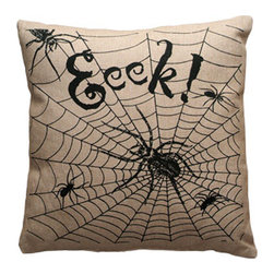 Seasonal Pillow - Eeek Spiderweb - This line features products that have been hand crafted. Small differences in shape, size, surface, and finish should be expected and lend individuality and charm to each piece.