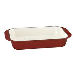 "Cuisinart - Cuisinart Chef's Classic Enamel Cast Iron 14"" Roasting Lasagna Pan, Red - Cast iron construction provides superior heat retention and even heat distribution"