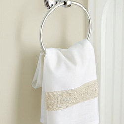 Ballard Designs - Ashleigh Lace Guest Towel - Great hostess gift. Coordinates with Ashleigh Linen Bedding. Machine washable. This classic guest hand towel is designed to coordinate with our romantic Ashleigh Linen Bedding. It's hand finished in luxuriously soft linen/cotton blend with crocheted antique-white lace border on one end for a pretty accent. Ashleigh Lace Guest Towel features: . .  *Monogramming available for an additional charge.*Allow 3 to 5 days for monogramming plus shipping time.*Please note that personalized items are non-returnable.