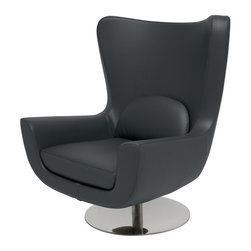 Nuevo Living - Ilan Lounger Chair in Dark Grey by Nuevo - HGAR366 - The Ilan lounger chair features dark grey naugahyde (vinyl) upholstery with CFS foam cushions and a high polish stainless steel swivel base.  The base swivels 360 degrees.  Available in 5 colors, the Ilan is sure to match your needs.