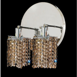 Elegant Lighting - Mini Star Chrome Two-Light Bath Fixture with Royal Cut Golden Teak Smoky Crystal - Royal Cut crystal is a combination of high quality lead free machine cut and machine polished crystals and full-lead machined-cut crystals to meet a desirable showmanship of an authentic crystal light fixture.  -Recommended to be professionally hung and supported independently of the outlet box. Consult an electrician for guidance to determine the correct hanging procedure.  -Crystals may ship separately and some assembly is required.  -Depending on the size & design the assembly can be time consuming, but is well worth the effort. Elegant Lighting - 1282W-R-P-GT/RC
