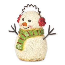 Earmuff Snowman - This adorable miniature snowman designed by Genevieve Gail features all-weather paint.