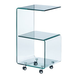 ZUO - Zuo Trek Glass Side Table with Casters in Clear - Feature a sleek, unique shape in your decor with this versatile, ultramodern table. Multiple surfaces makes this side table a real space saver. Constructed from bent clear semi-tempered glass and set on heavy duty casters, this sophisticated table will work in any space in your home.