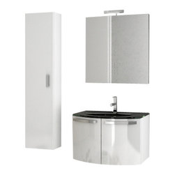 ACF - 28 Inch Glossy White Bathroom Vanity Set - Set Includes: Vanity Cabinet (2 Doors), high-end fitted ceramic sink, wall mounted vanity mirror, tall storage cabinet.