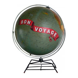 "Imagine Nations - 'Bon Voyage' Globe - Capturing a feeling of adventure, this globe is emblazoned with a vintage ""Bon Voyage"" banner as a plane flies into a stunningly colored sunset across the world."