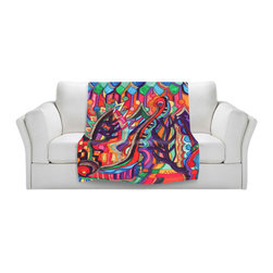 DiaNoche Designs - Throw Blanket Fleece - Maeve Wright Guarding Beauty's Palace - Original Artwork printed to an ultra soft fleece Blanket for a unique look and feel of your living room couch or bedroom space.  DiaNoche Designs uses images from artists all over the world to create Illuminated art, Canvas Art, Sheets, Pillows, Duvets, Blankets and many other items that you can print to.  Every purchase supports an artist!