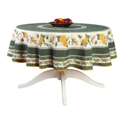 """Provence Imports - French Provencal Polyester Tablecloth - Menton Green - Round - This polyester tablecloth will add a French Provençal touch to your decor! This tablecloth features a beautiful """"placé"""" design with sunflowers, wheat, olives and lemons on a green and white background. """"Placé"""" means the design is printed in a circle and not in straight lines."""