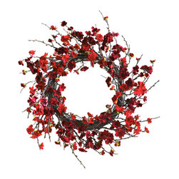 "Nearly Natural - Nearly Natural 24 inches Plum Blossom Wreath - Wreaths have become year-round decorations, and with good reason: they're simply beautiful. And we've got a beauty right here with this large (24"") Plum Blossom wreath. Twisting round and round, the stems give a solid backdrop to the delicate plum blooms that spring forth. We've found ourselves staring at this for quite some time - it's that pretty. Perfect for your  holiday d�cor (any holiday!), and also makes a thoughtful (and interesting) gift."