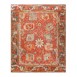 Consigned Antique Turkish Oushak Rug - Antique Turkish Oushak Carpet, Turkey, c. Late Nineteenth Century - Here is a captivating and beautifully woven antique Oriental rug - an antique Oushak carpet that was woven in Turkey during the latter decades of the nineteenth century. Vibrant and energetic, this antique Turkish rug is characterized by a lovely pallet as well as a complex and traditional composition. First, large borders surround the perimeter of the piece, the wide format and dark background color of which infuse them with an extra sense of prominence. These are decorated with traditional Oushak vine scroll detail work, rendered in ivory and a range of bright reds. The field itself is colored a fiery shades of red, and boasts an exciting and complex composition, wherein outsized geometric vegetal detail elements are arranged in a complex manner. Each of these enormous detail elements is linked to the other via an intricate system of vine scrolls, which are also further detailed with comely blossoms. An exciting and unique example, this Oushak rug from Turkey is an exceptional antique carpet.