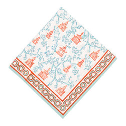 Origin Crafts - Pagoda teal/pumpkin napkins (set of 4) - Pagoda Teal/Pumpkin Napkins (Set of 4) Our East Asia inspired Pagoda pattern is a perfect fall tabletop addition. Block printed in cool shades of teal and pumpkin, they're sure to be a nice addition to any dinner party. 100% cotton . Machine wash cold, tumble dry low, warm iron as needed. Made in