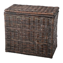 Eco Displayware - 2 Compartment Rattan Hamper in Espresso - Great for closet, bath, pantry, office or toy and game storage. Earth friendly. 28 in. L x 17 in. W x 25 in. H (43.27 lbs.)These natural colored baskets add warmth and charm and keep you organized.