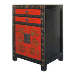 Golden Lotus - Chinese Black Red Gold Flower Painting Nightstand End Table Cabinet - Look at this Chinese nightstand end table which is made of solid elm wood.  It comes with gold flower painting at the front of cabinet.