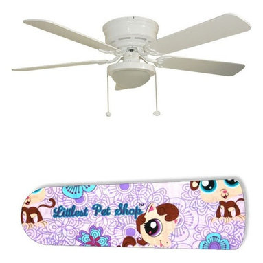 """LPS Littlest Pet Shop Purple 52"""" Ceiling Fan with Lamp - This is a brand new 52-inch 5-blade ceiling fan with a dome light kit and designer blades and will be shipped in original box. It is white with a flushmount design and is adjustable for downrods if needed. This fan features 3-speed reversible airflow for energy efficiency all year long. Comes with Light kit and complete installation/assembly instructions. The blades are easy to clean using a damp-not wet cloth. The design is on one side only/opposite side is bleached oak. Made using environmentally friendly, non-toxic products. This is not a licensed product, but is made with fully licensed products. Note: Fan comes with custom blades only."""