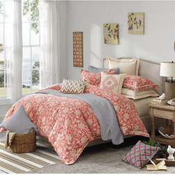 Hampton Hill - Portico Mango and Cream Eight-Piece Queen Duvet Style Comforter Set - - Cream and mango floral patterned jacquard bedding  - Set Includes: 1 King Duvet/Comforter, 2 King Shams, 3 Euro Shams and 3 Decorative Pillows  - Fill Material: Polyester  - Dry Clean Hampton Hill - FB10-968