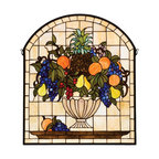 Meyda Tiffany - Meyda Tiffany Tiffany Windows Window Sill Tiffany Window Art in Copperfoil - Shown in picture: Fruitbowl Stained Glass Window; A Cornerstone Beige Background Frames A Bowl Brimming With Delectable Concord Blue And Purple Grapes - Oranges - Cerise Cherries - Golden Pears And An Amber Pineapple Nestled In Garden Green Leaves. This Meyda Tiffany Window Is Handcrafted Of Stained Art Glass Utilizing The Copperfoil Construction Process And Is Encased In A Solid Brass Frame. Mounting Bracket And Jack Chain Included.