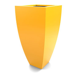 Decorpro - Medium Corby Planter, Yellow - The Corby Planter evolved from a variation on the standard square pots. Although designed as a large outdoor planter, these tall elegant planters also look great indoors. With clean curved lines these modern planters add an impressive statement as commercial  planters or in private residences.