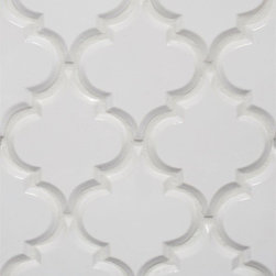 Mission Stone Tile - Beveled Arabesque BackSplash Tile, White, Samples - Beveled Arabesque Tile | White Sample