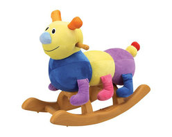 Charm Co. - Carly Caterpillar Rocker - Carly is a fun loving caterpillar ready to take your little one on an adventure. The sturdy plastic base will ensure a safe ride. Carley is made of a super soft plush fabric that feels just like a baby blanket for a comfortable seat. The low to the ground seat makes mounting Carley easy for young riders.