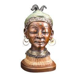 bronzes by Janet - MYSTIC PRINCESS   bronze portrait - Powerful and piercing, this lady of tribal royalty excudes confidence and internal knowledge. An element of mixed media—accessorized with ear rings and necklace—personalizes the portrait. Use your own accessories to personalize this portrait.