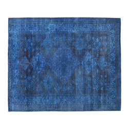 Denim Blue Overdyed Super Kazak 6x8 100% Wool Hand Knotted Oriental Rug SH15375 - Our Overdyed & Patchwork hand knotted Rug Collection is another highly demanded rug in our industry today. For our Hand Knotted  Overdyed Rugs we have a team that strips the original colors and overdyed in either more vibrant or softer & subtle hues.  The Patchwork Hand Knotted Rugs are very unique and complex.  Its composed of several different designs made up into one rug.