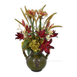Grace Feyock - Grace Feyock Daylilies in Tuscan Urn X-48006 - Deep burgundy daylilies in bud and full bloom, arranged with pear green hydrangea in a pottery urn with faded evergreen finish and brown undertones.