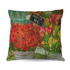 DiaNoche Designs - Pillow Woven Poplin - Diana Evans The Paris Flower Shop - Toss this decorative pillow on any bed, sofa or chair, and add personality to your chic and stylish decor. Lay your head against your new art and relax! Made of woven Poly-Poplin.  Includes a cushy supportive pillow insert, zipped inside. Dye Sublimation printing adheres the ink to the material for long life and durability. Double Sided Print, Machine Washable, Product may vary slightly from image.