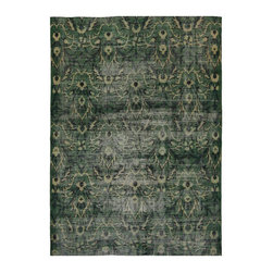 Forest Green Floral Turkish Rug - Dimensions 67.0ʺW × 97.0ʺD × 0.25ʺH