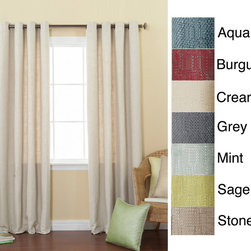 None - Solid Heavyweight Faux Linen 84-inch Grommet Top Curtain Panel Pair - Quickly change the look of a room with this grommet-top curtain panel pair. Made from 100 percent polyester,these curtains feature grommets with an antique-brass finish and come in your choice of colors. Tiebacks are included to create a total look.