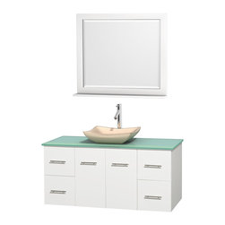 "Wyndham Collection - Centra 48"" White Single Vanity, Green Glass Countertop, Avalon Ivory Marble Sink - Simplicity and elegance combine in the perfect lines of the Centra vanity by the Wyndham Collection. If cutting-edge contemporary design is your style then the Centra vanity is for you - modern, chic and built to last a lifetime. Available with green glass, pure white man-made stone, ivory marble or white carrera marble counters, with stunning vessel or undermount sink(s) and matching mirror(s). Featuring soft close door hinges, drawer glides, and meticulously finished with brushed chrome hardware. The attention to detail on this beautiful vanity is second to none."
