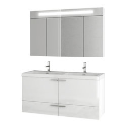 ACF - 47 Inch Glossy White Bathroom Vanity Set - If you need a bath vanity, why not consider this designer bathroom vanity from the ACF New Space collection? Perfect for more contemporary & modern settings, this designer-quality bath vanity is wall and coated with glossy white.